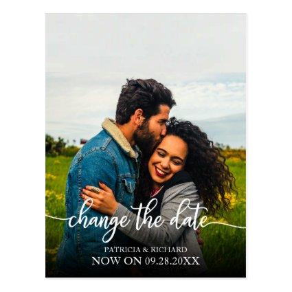 Change The Date Wedding Postponed Elegant  Script