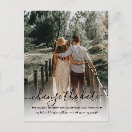 Change the Date Wedding Typography Photo Announcement