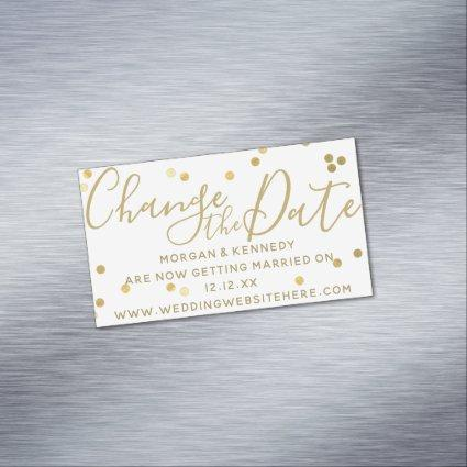 Change the Date White Gold Confetti Magnetic