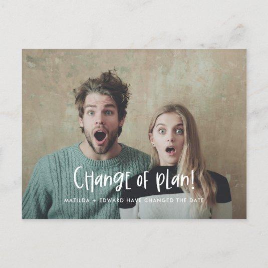 Change the plan fun modern wedding photo announcement