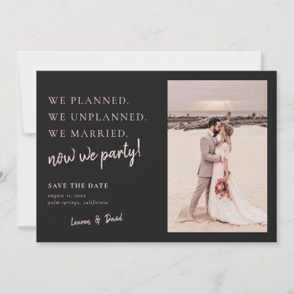 Charcoal Gray Post Wedding Update Save the Date