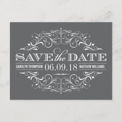 Charcoal Gray Save the Date | Swirl and Flourish Announcements Cards