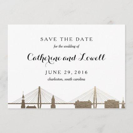 Charleston South Carolina Faux Gold Save the Date