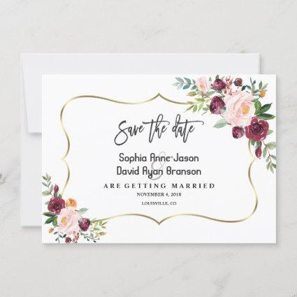 Charm Burgundy Blush Floral Gold Save The Date