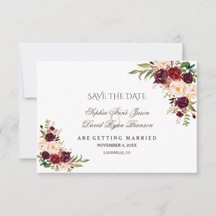 Charm Burgundy Red Marsala Floral Save The Date