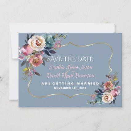 Charm Dusty Blue Misty  Rose Gold Wedding Save The Date