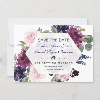 Charm Lavender Purple Floral Bloom Save The Date