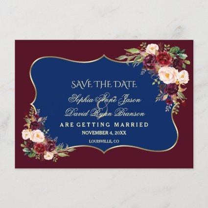 Charm Navy Blue Burgundy Floral Gold Save The Date