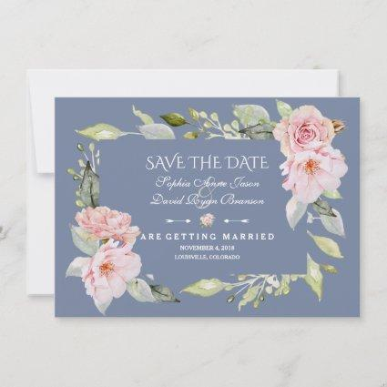 Charm Pink Blush Floral Dusty Blue Save The Date