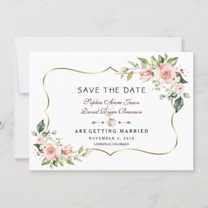 Charm Pink Blush Flowers Gold Frame Wedding Save The Date
