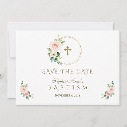 Charm Pink Blush Flowers Gold Girl Baptism Save The Date