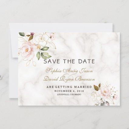 Charm Pink Blush Gold Floral Marble Wedding Save The Date