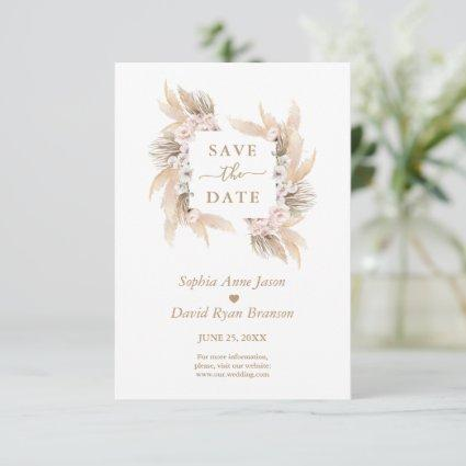 Charm Pink Roses White Orchid Pampas Grass Wedding Save The Date