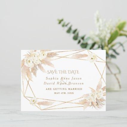 Charm White Roses Pampas Grass Gold Wedding Save The Date