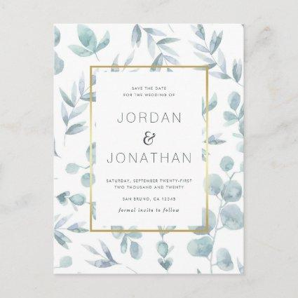 Charming Botanical Watercolor Leaves Save The Date Announcement