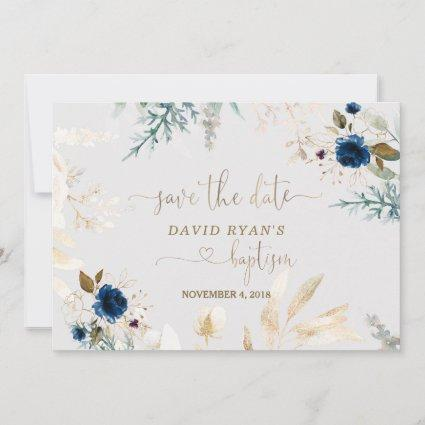 Charming Watercolour Blue Floral Gold Baptism Save The Date