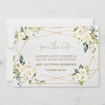 Charming Watercolour White Floral Gold Wedding Save The Date