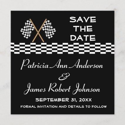 Checkered Flag Save The Date Wedding Announcement