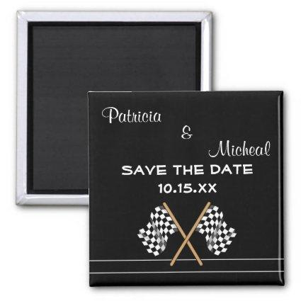 Checkered Flag Save The Date Wedding Magnet
