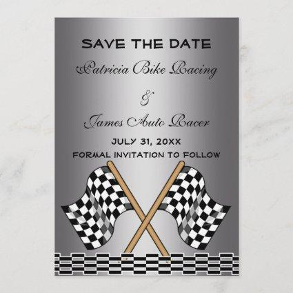 Checkered Flag Save The Date Wedding Silver Grey