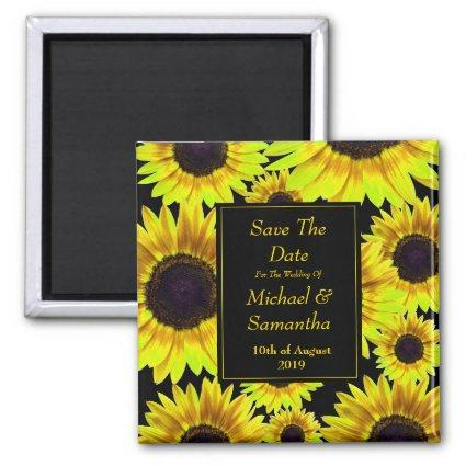Cheerful Bright Yellow Sunflower  - Save The Date Magnet