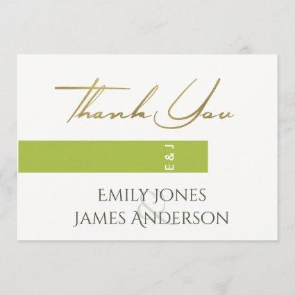 CHEERFUL GREEN GOLD MODERN TYPOGRAPHY THANK YOU