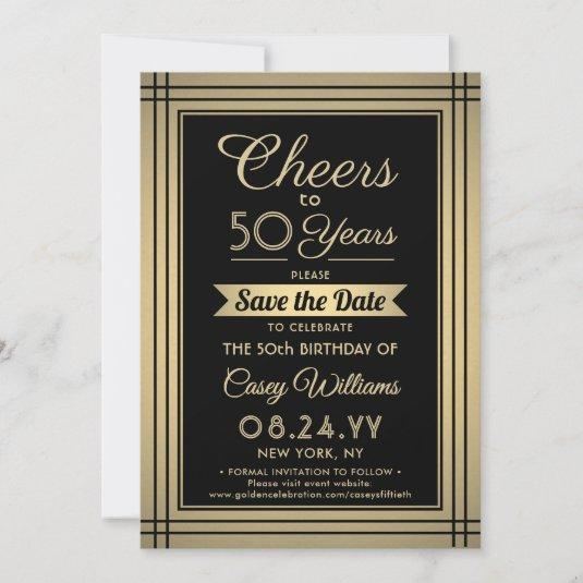 Cheers Any Year Birthday Elegant Black Gold 50th Save The Date