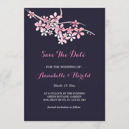 Cherry Blossom Pink navy floral save the date