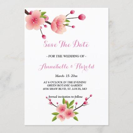 Cherry Blossom Pink White  floral save the date