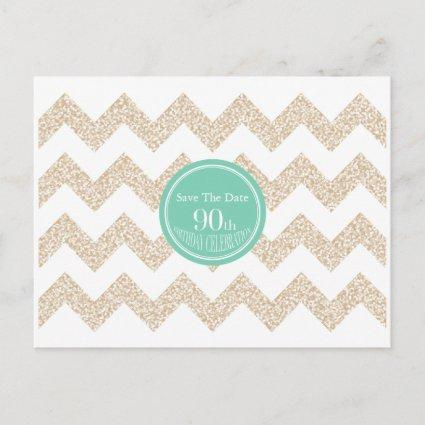 Chevron 90th Birthday Save the Date Choose Color P Announcement