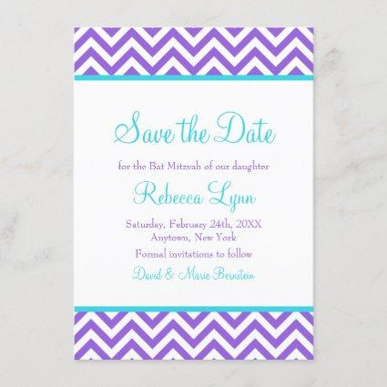 Chevron Purple Teal Blue Bat Mitzvah Save the Date