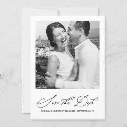 Chic Black and White Photo Save the Date