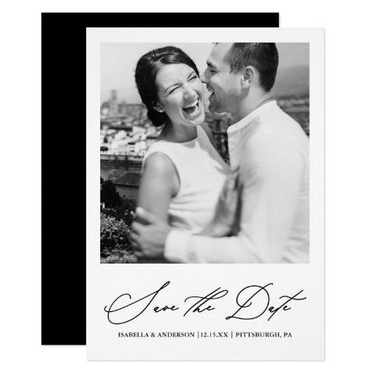 Chic Black and White Photo Save the Date Invitation