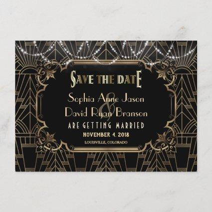 Chic Black Gold Great Gatsby 1920s Save the Date