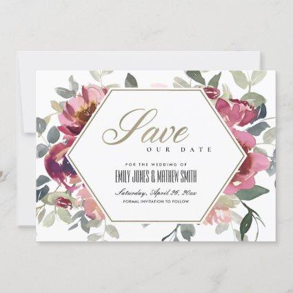 CHIC BLUSH BURGUNDY ROSE FLORAL SAVE THE DATE CARD