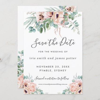 Chic Blush Pink Floral Greenery Save the Date Card