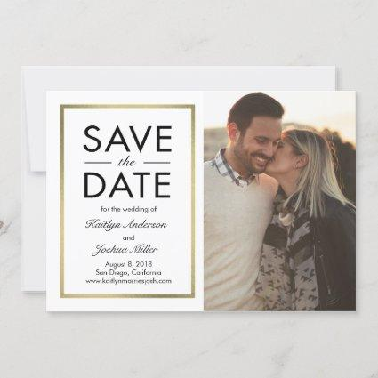 Chic Border EDITABLE COLOR Save The Date Card