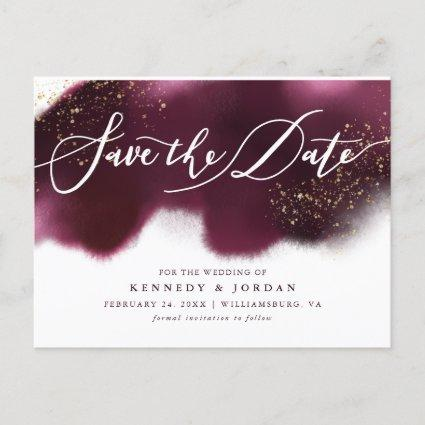 Chic Burgundy Gold Glitter Wedding Save the Date Announcement