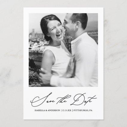 Chic Burgundy Photo Save the Date