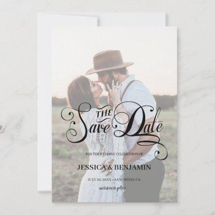 Chic Calligraphy Faux Vellum Effect Photo Wedding Save The Date