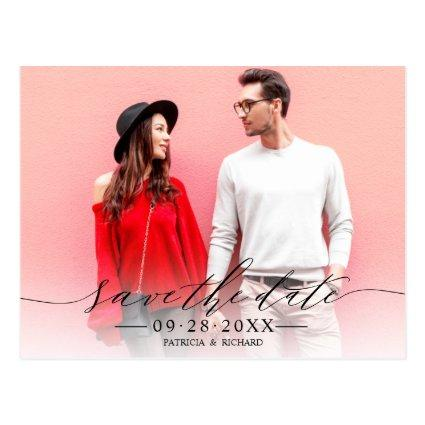 Chic Calligraphy Wedding Save The Date Photo