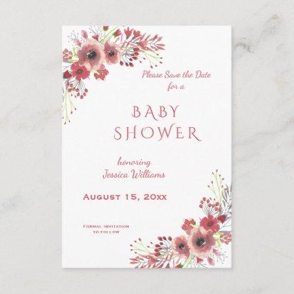 Chic Classy Red Floral Watercolor Baby Shower Save The Date