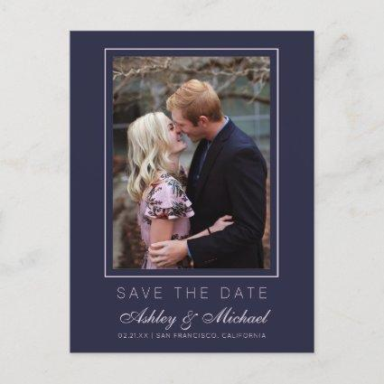 Chic Dark Blue Pink Save the Date Engagement Photo Announcement