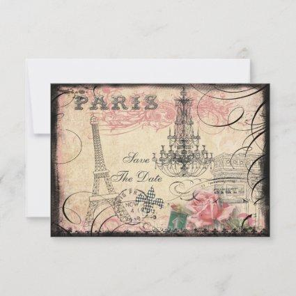 Chic Eiffel Tower & Chandelier Save The Date