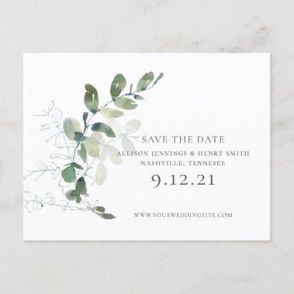 Chic Eucalyptus Greenery Wedding Save the Date Announcement