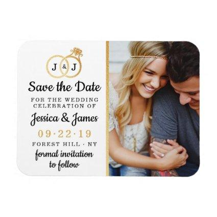 Chic Faux Gold Foil Monogram Wedding Rings Magnet