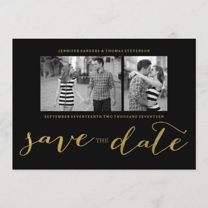 CHIC FAUX GOLD HANDWRITTEN | PHOTO SAVE THE DATE