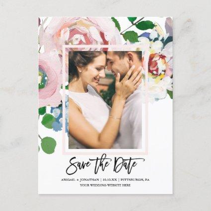 Chic Floral Bouquet with Script Save the Date Invitation