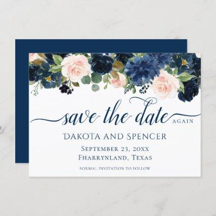 Chic Floral | Romantic Blush Navy Garland Change Save The Date