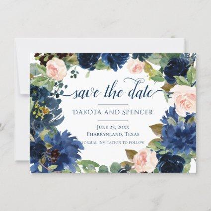Chic Floral | Romantic Blush Navy Garland Wreath Save The Date